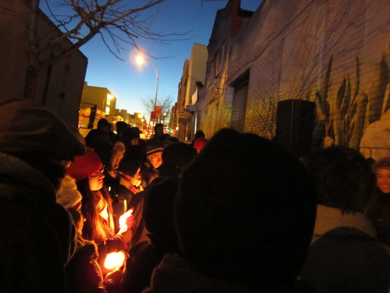 The brandworkers community holds a vigil outside of Tortilleria Chinantla in 2013, 2 years after Juan's death.
